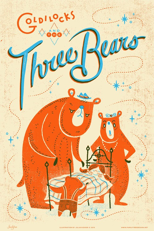 Goldilocks and the Three Bears Illustrated Art Print by Julian Baker