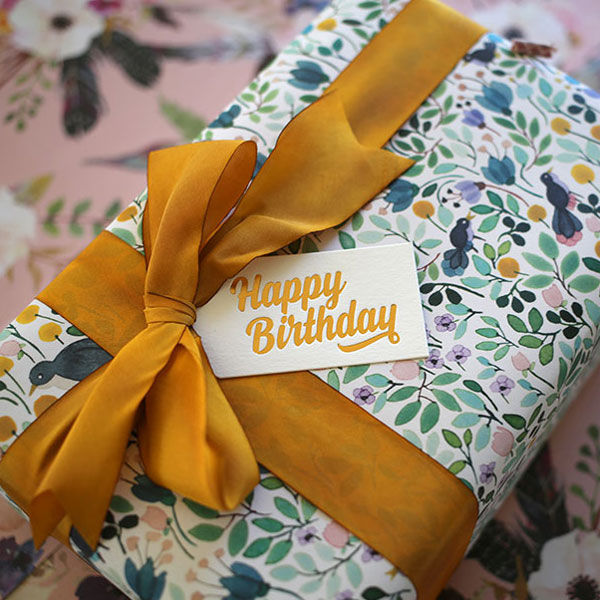 Bespoke Press Gift Wrap, Gift Tags & Hand Dyed Silk Ribbon