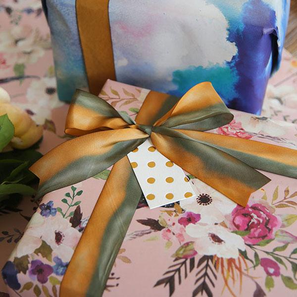 Bespoke Letterpress Gift Wrap, Gift Tags & Hand Dyed Silk Ribbon