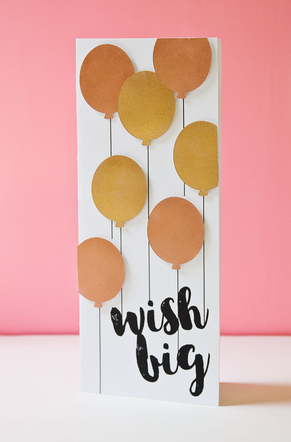DIY Metallic Balloons Birthday Card (Free Card Template Included)