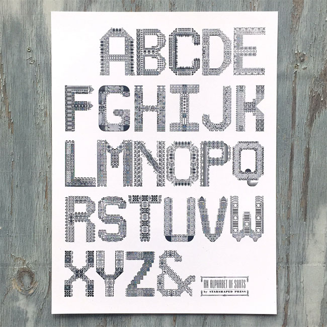 An Alphabet of Sorts Letterpress Poster by Starshaped Press