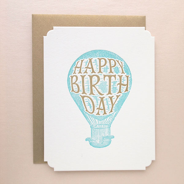 Happy Birthday Deluxe Letterpress Greeting Card by Missive