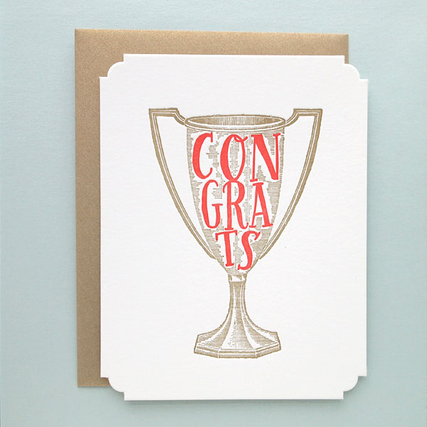 Congrats Trophy Deluxe Letterpress Greeting Card by Missive