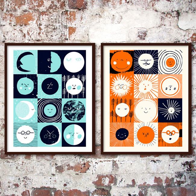 12 Moons & 12 Suns Screenprints by Rob Hodgson (Screenprinting by Yet)
