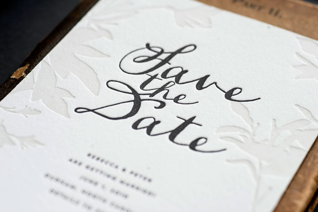 Lima Botanical Letterpress Save the Date by Hello Tenfold (photo credit: Lissa Gotwals)