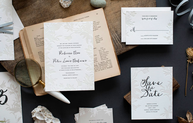 Lima Botanical Letterpress Wedding Suite by Hello Tenfold (photo credit: Lissa Gotwals)