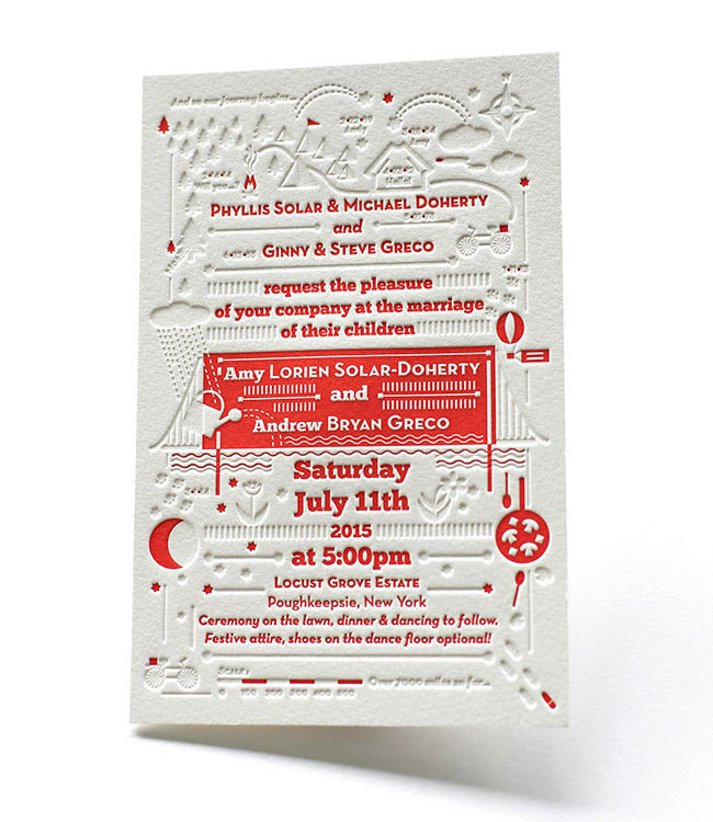 Blind Deboss + Red Letterpress Wedding Invitations // Printing by Elegante Press & Design by Katie Fechtmann