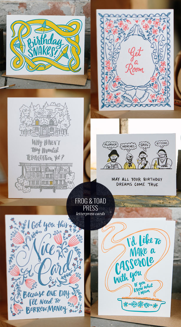 Hand Lettered and Illustrated Letterpress Cards by Frog & Toad Press