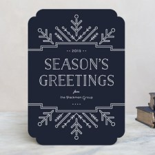 Geometric Snowflake Business Holiday Cards by Laura Hankins