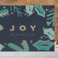 Golden Evergreen Foil Business Holiday Cards by Makewells