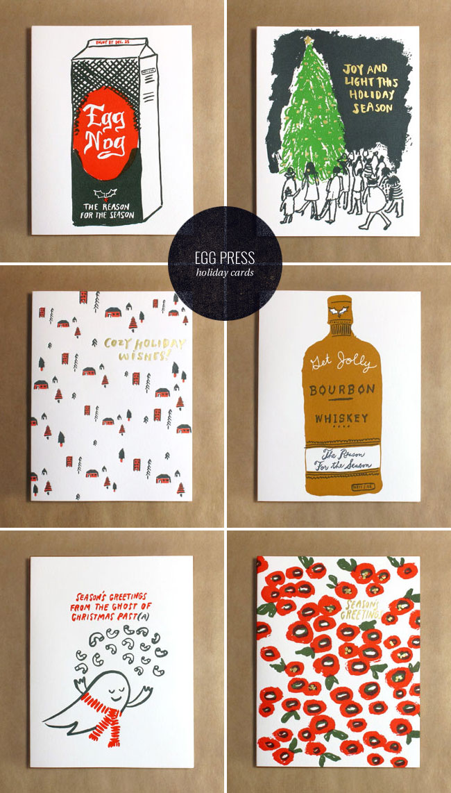 Letterpress & Gold Foil Holiday Cards from Egg Press