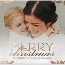 Holly Frame Foil Stamped Holiday Photo Cards by Sarah Hawkins Designs