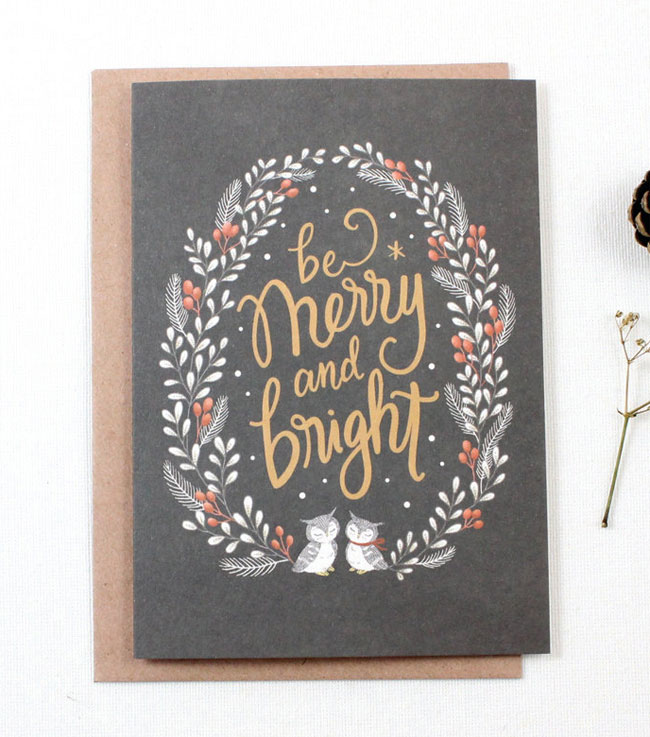 Merry and Bright Holiday Card by Whimsy Whimsical