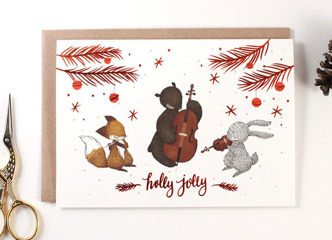 Holly Jolly Holiday Card by Whimsy Whimsical
