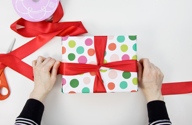 How to Make a Big & Loopy Satin Gift Bow, Step 1