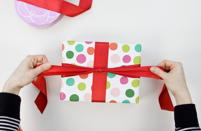 How to Make a Big & Loopy Satin Gift Bow, Step 2