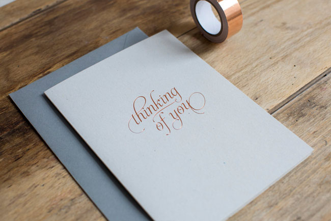 Copper Foil Thinking of You Card by Nothing But Lovely