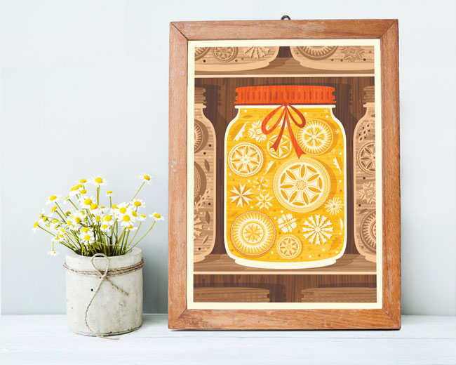 Crafty Mason Jar Illustrated Art Print by Kata Kiosk