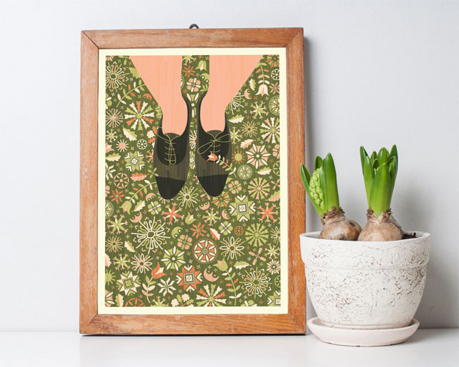 Crafty Floral Shoe Selfie Illustrated Art Print by Kata Kiosk