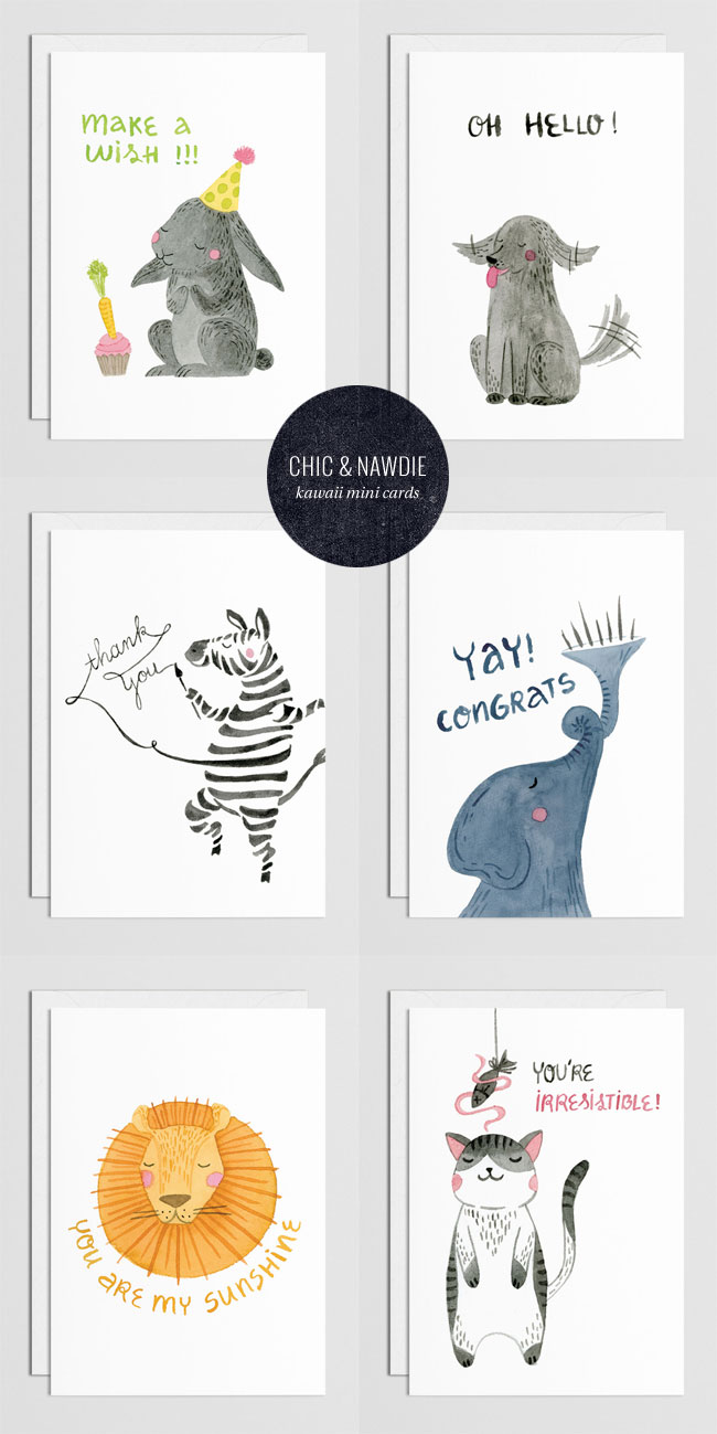 Unstoppable Kawaii Mini Cards by Chic + Nawdie