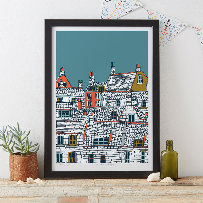 Rooftops Art Print by Jessica Hogarth #illustration