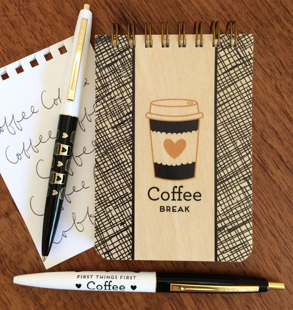 Coffee Notepad & Pens from Night Owl Paper Goods
