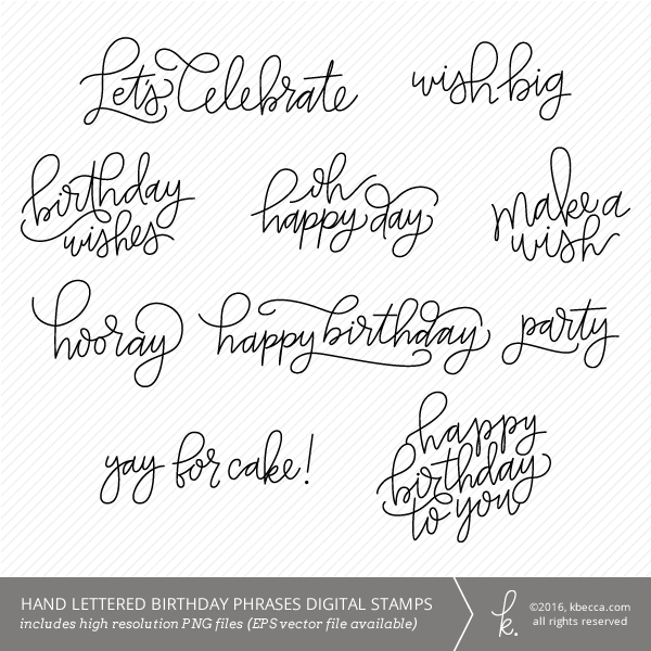 Hand Drawn Happy Birthday Sentiments Digital Clip Art / Digital Stamps by K.becca