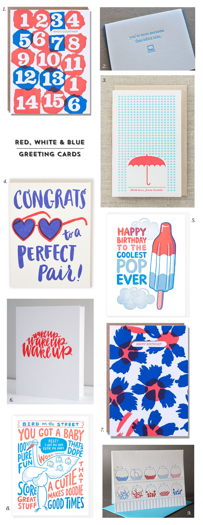 Red, White & Blue Greeting Cards