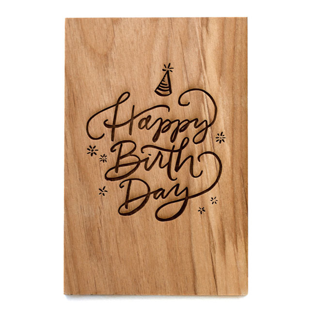 Happy Birthday Real Wood Card by Cardtorial
