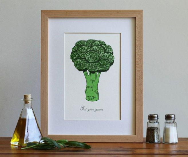 Broccoli Letterpress Art Print from Fickle Hill Press