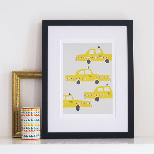 Fox & Velvet Illustrated NYC Yellow Cabs Art Print