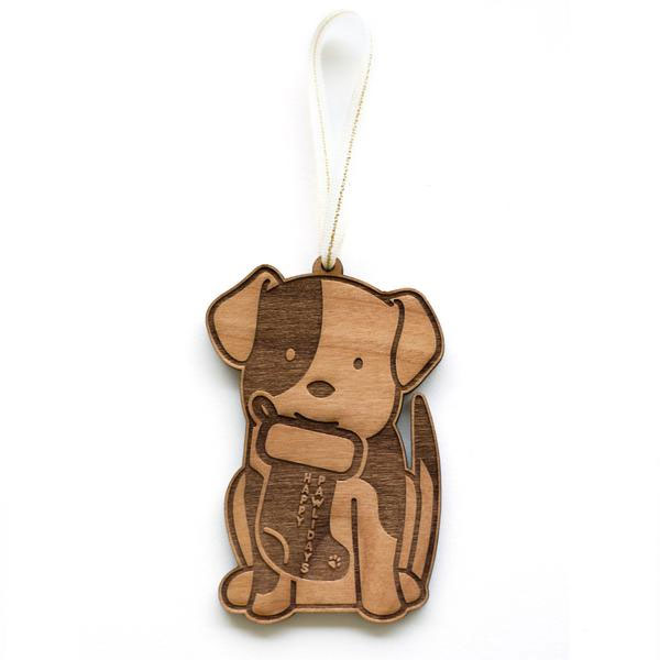 Dog Laser Cut Wood Holiday Ornament by Cardtorial