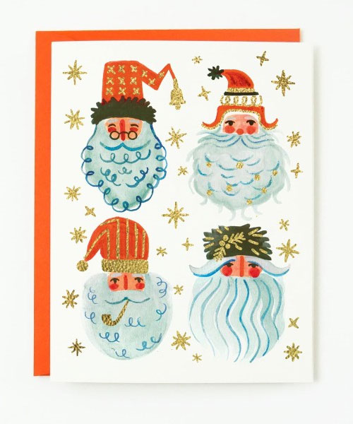 Holiday Santa Greeting Card by Quill & Fox