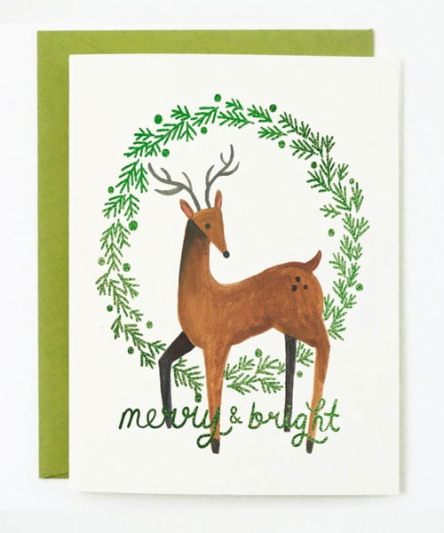 Merry and Bright Greeting Card by Quill & Fox