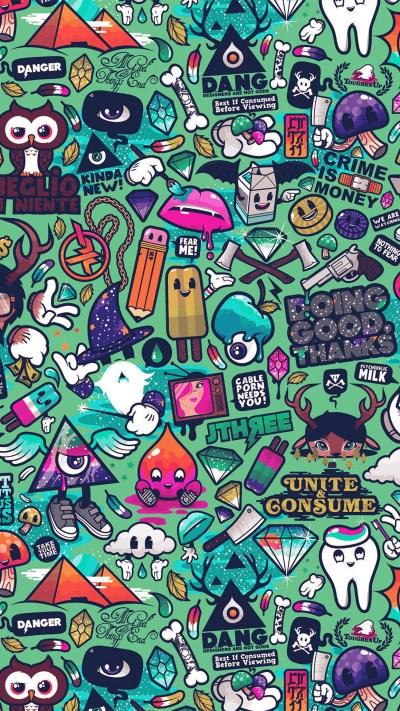 PAPERS.co | iPhone wallpaper | aq62-art-work-pattern-illustration-graffiti-green