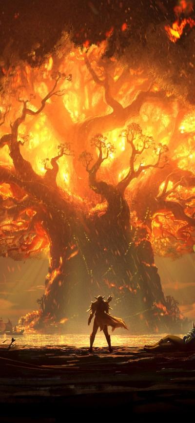 vy38-tree-anime-hero-pattern-background-wallpaper