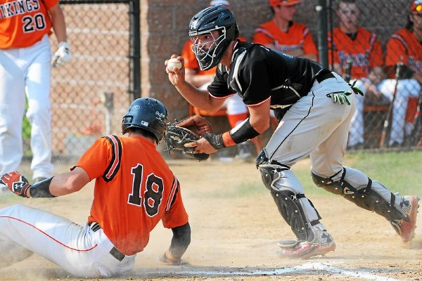 Boyertown catcher Ryan Weller shows the umpire the ball after tagging out Perkiomen Valley's Joe Gorla at the plate in the bottom of the fourth inning. (John Strickler - DFM)