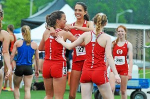 Members of Owen J. Roberts' 4x800 meter relay celebrate after finishing second at the District I-AAA Championships Saturday. (Barry Taglieber - DFM)