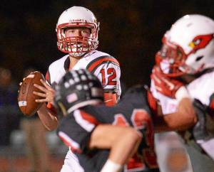Bob Raines--DIgital First Media Upper Dublin quarterback Justin Horn gets ready to pass to Nick Sonetto in the endzone during the Oct. 21, 2016 game at Hatboro-Horsham.