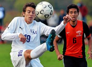 Bob Raines--Digital First Media Upper Moreland's Alex Gerlach sends the ball back over his head during the game against Marple Newtown Oct. 25, 2016.