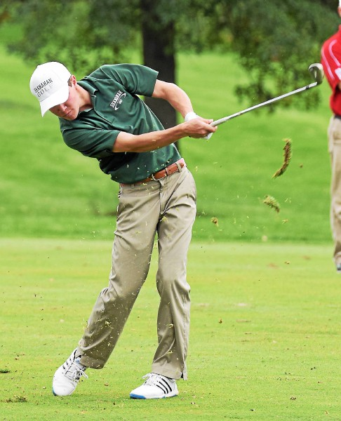 Bishop Shanahan's Ryan Conners hits from the fairway on No. 18 Monday during the PIAA East Region Golf Championships at Golden Oaks Golf Club in Fleetwood. (Austin Hertzog - Digital First Media)