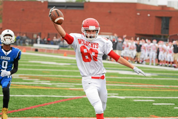 Owen J. Roberts' Hunter Hinrichs runs the ball into the end zone for a touchdown during the Wildcats' win against Norristown Saturday. (Jeff Davis - For Digital First Media)