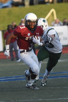 Myles Henderson looks for open space in Saturday's Catholic League Class 4A final. Henderson and Cardinal O'Hara defeated Bonner & Prendergast, 22-12.