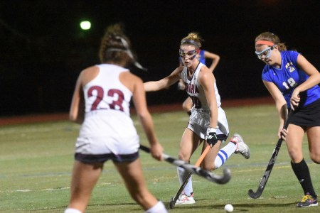 Cardinal O'Hara's Meghan Shallow (23) and Makayla Gallen, center, battle Downingtown West's Taylor Orsi for the ball. (Digital First Media/Anne Neborak)