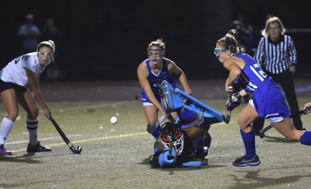 Oley Valley goalkeeper Caitlin Drobek makes a diving save against Lake Lehman in a PIAA Class A field hockey semifinal at Whitehall on Nov. 12. (Austin Hertzog - Digital First Media)