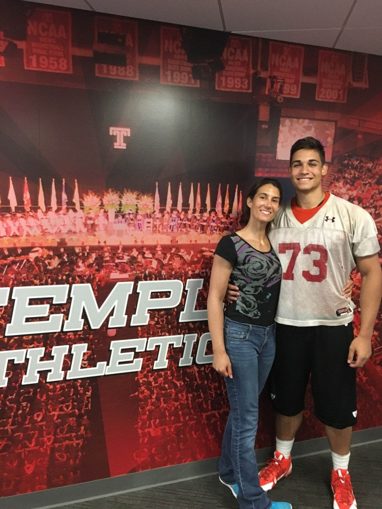 Perkiomen Valley lineman Chris Jimenez stands with his mother, Jaime Kline, after committing to Temple University in July. (Photo submitted)