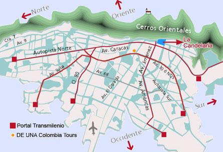 Mapa de Bogotá con direcciones, Calles y Carreras