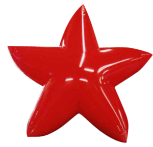 red color star shape giant helium balloon used in parades