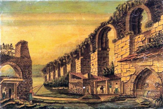Το υδραγωγείο της πόλης και μια κρήνη. Φανταστική (;) υδατογραφία του Brigges.
