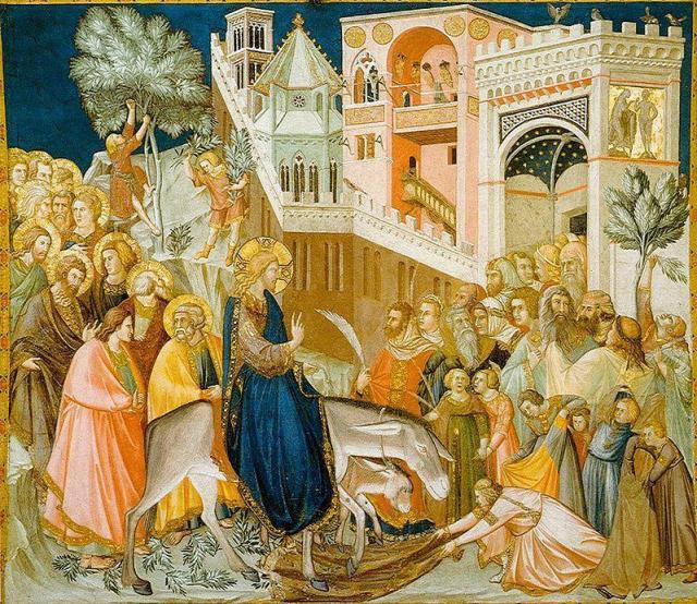Η είσοδος του Ιησού στα Ιεροσόλυμα. Πιέτρο Λορεντζέττι 1320.